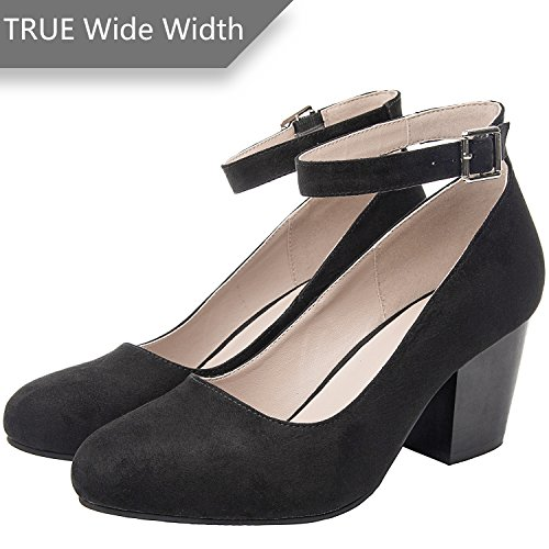 - Luoika Women's Wide Width Heel Pump Shoes - Ankle Buckle Strap Round Closed Toe Dressing Shoes. (Black 180320,8WW)