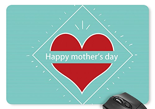 Mouse Mat Mother's Day with Red Big Love - Teal Stripe Mousepad 11.8 X 9.8