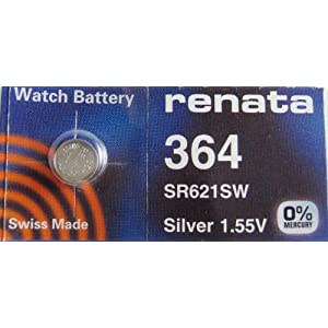 Renata Silver Oxide Watch Battery For 364 Button Cell, 5 Batteries
