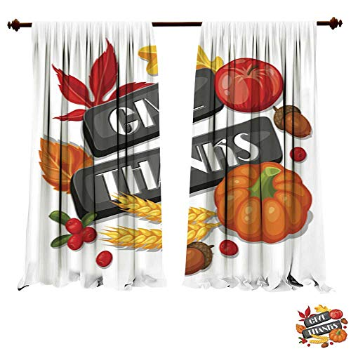 DragonBuildingMaterials Panels Sun Blocking Curtains Thanksgiving Day Greeting Card Background with Autumn objects2 Thermal Insulated