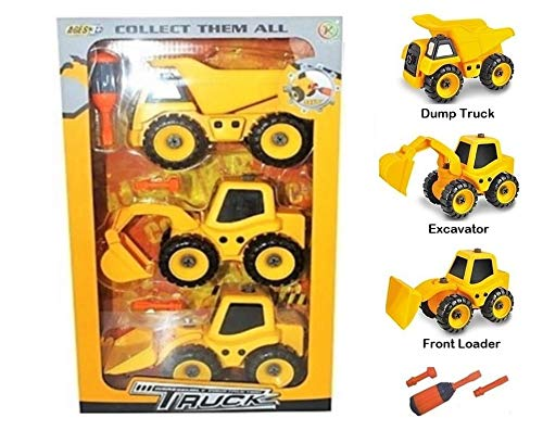 (Take Apart Construction Trucks Assembly Toy w/ Tools for Toddlers Boy Age 3 4 5 6 7 8. STEM Educational Building Blocks DIY Kids Engineering. 3 Yellow Cat Truck Vehicles: Excavator, Dump Truck, Loader)