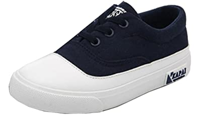 d53073d2 VECJUNIA Boys Girls Comfortable Candy Colored Elastic Lace-up Canvas  Sneakers Dark Blue 1 M