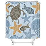 KANATSIU Hand-Painted Turtle, Starfish, Sea Fish Pattern Shower Curtain,with 12 Plastic Hooks,100% Made of Polyester,Mildew Resistant & Machine Washable,Width x Height is 72X72
