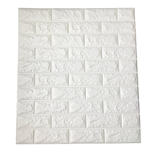 Art3d 64 Sq.Ft Peel and Stick 3D Wall Panels for Interior Wall Decor, White Brick Wallpaper, Pack of 11