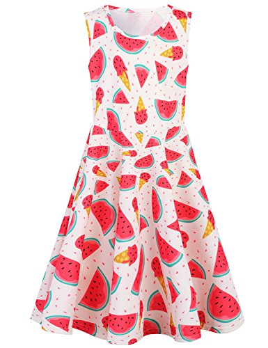 Funnycokid Girls 3/4 Sleeve Christmas Dresses Printed Holiday Dress Size 4-13 (Watermelon, 4-5 T)
