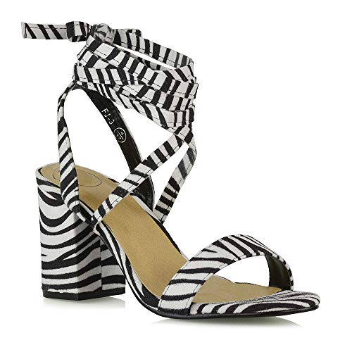 ESSEX GLAM Womens Chunky Block Low Mid Heel Lace Up Strappy Sandal Faux Suede Shoes (8 B(M) US, Zebra Faux Suede)