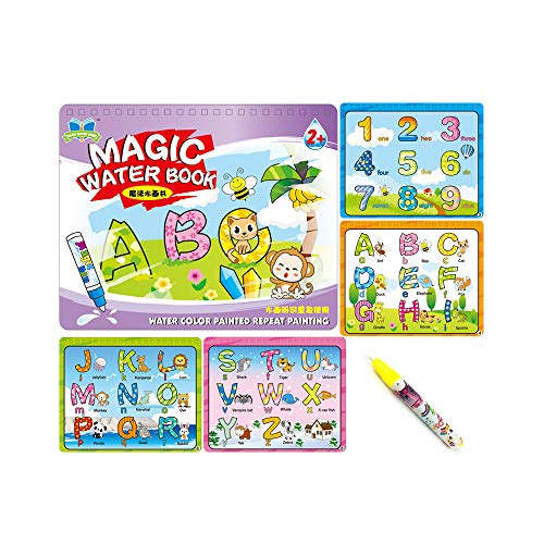 Sipobuy Magic Water Drawing Book Agua Libro para Colorear Doodle con Magic Pen Tablero de Pintura para niños Educación Dibujo Juguete (Letras y ...
