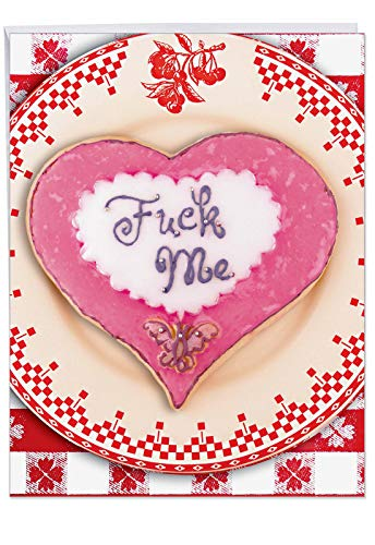 Jumbo Fvck Me Valentines Day Card - Happy VDay Greeting Card with Envelope Jumbo 8.5 x 11 Inch - Heart Shaped, Pink, Sugar Cookie - Butterfly Stationery for Personalized Love Letter, V-Day Gift J2090