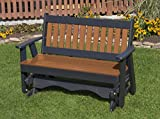 4FT-CEDAR-POLY LUMBER Mission Porch GLIDER Heavy Duty EVERLASTING PolyTuf HDPE - MADE IN USA - AMISH CRAFTED