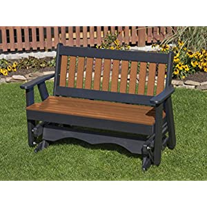 Ecommersify Inc 5FT-Cedar-Poly Lumber Mission Porch Glider Heavy Duty Everlasting PolyTuf HDPE - Made in USA - Amish Crafted