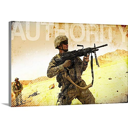 GREATBIGCANVAS Gallery-Wrapped Canvas Entitled Military Grunge Poster: Authority. A Soldier Firing his Mk-48 Machine Gun by Kate Lillyson 48