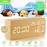 Alarm Clock,Wood Alarm Clock Digital Clock LED Small Desk Clock Voice Command Beside Wooden Clock Modern Decoration Mini Alarm Clocks 3 Alarms 3 Level Brightness Show Time Date Week