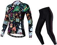 JPOJPO Women's Cycling Jersey Set Long Sleeve Bike Clothing Autumn Winter Reflective+5D Padded Long Pants