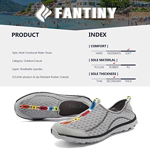 Fantiny Athletic Water Cior Women Aqua Quick Sneakers Slip Men grey Drying Sport Y Shoes on dwzaqXz