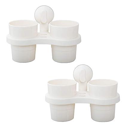 LIKERAINY Soporte Porta Cepillos de Dientes y Vaso de Baño con Ventosa sin Taladro Blanco 2