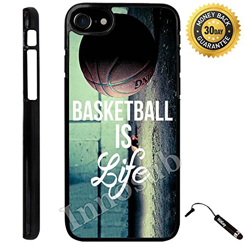 Custom iPhone 8 Case (Basketball Baller Life Quote) Edge-to-Edge Plastic Black Cover with Shock and Scratch Protection | Lightweight, Ultra-Slim | Includes Stylus Pen by INNOSUB (4s Iphone Basketball Case Quotes)