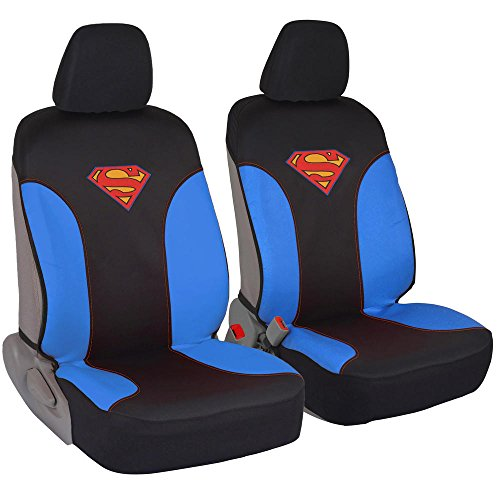Superman Car Seat Covers - 100% Waterproof Front Pair Blue Black Fit Cover - Side Airbag Safe Protection for Car SUV Van Truck