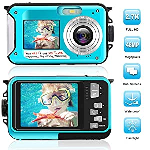 Waterproof Digital Camera Full HD 2.7K 48 MP Underwater Camera Video Recorder Selfie Dual Screens 16X Digital Zoom…