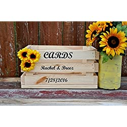 Country wedding card box rustic natural wood crate sunflower accents personalized front holds 100+ cards