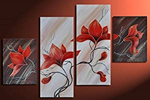 Noah Art-Modern Floral Art, Lighting Red Tulip Flower Picture 100% Hand Painted Abstract Paintings of Flowers on Canvas, 4 Piece Framed Natural Flower Wall Art for Bathroom Bedroom Home Decor
