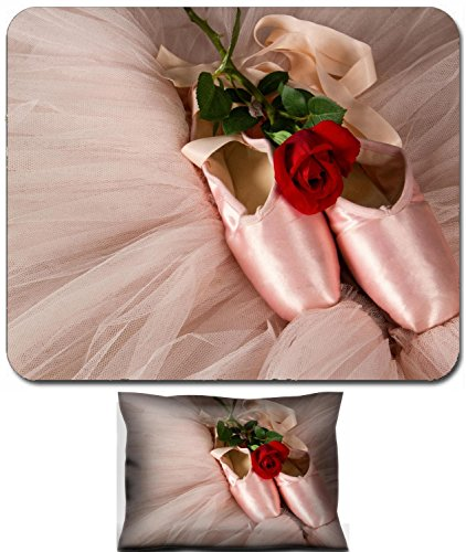 Liili Mouse Wrist Rest and Small Mousepad Set, 2pc Wrist Support Old ballet slippers lying on floor with rose and pink tutu -