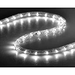 Yescom 50ft Cool White 2 Wire LED Rope Light Outdoor Home Holiday Valentines Party Restaurant Cafe Decoration
