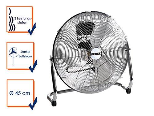 Perel CFANF45N Bodenventilator, Metall, 45 cm Ventilator Durchmesser, 54.5 cm Höhe, 220-240 VAC, 50 Hz, 140 W