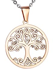 Valyria Stainless Steel Round Tree of Life Celtic Charm Pendant Necklace,3cmx1.5mm
