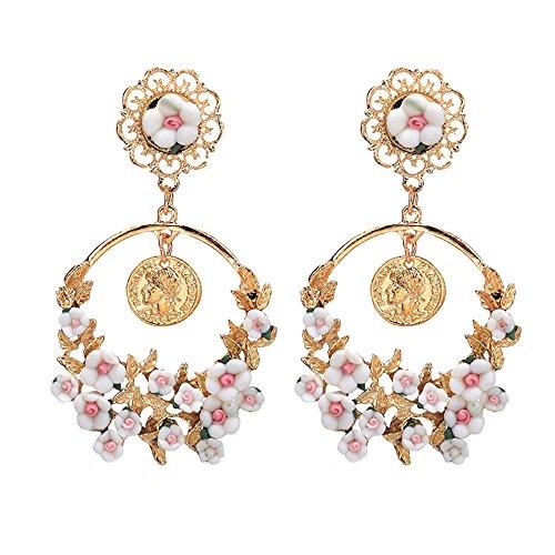 MUZHE Korean Fashion Geometric Long Asymmetry Earring Rhinestone Circle Ear Stud New Acrylic Big Earrings (White) -