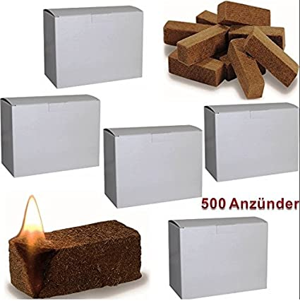 Pastillas de encendido ecológico para horno, chimenea y barbacoa (500 unidades, cera y