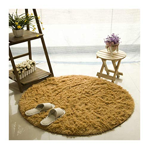Fluffy Round Rug for Living Room House Decor Carpets Kids Room Faux Fur Carpet Bedroom Long Plush Rugs Modern Area Rug, Khaki, Diameter -