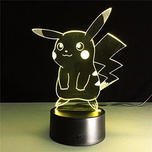 Cute 3D Pikachu Night Light Halloween Kids Toys Holiday Gi...