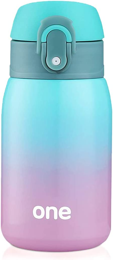 Kids Water Bottle, Double Wall Vacuum Insulated Stainless Steel Bottle for 24 hrs Cooling & 12 hrs Keep Warm, 9oz