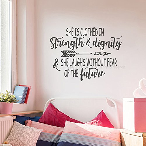 "BATTOO She is Clothed in Strength and Dignity Christian Wall Quotes Decal 22""W 16.5""H Girls Wall Quote Vinyl Decal Kids Wall Decal Sticker, Black"