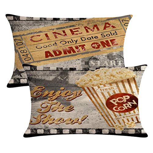 ULOVE LOVE YOURSELF Set of 2 Vintage Cinema Poster Pillow Covers Movie Theater with Popcorn,Filmstrip,Clapboard Pattern Home Theater Decor Couch Waist Pillow Case 12X 20 (Popcorn Cinema)