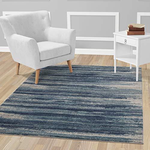"Diagona Designs Contemporary Stripes Design Modern 5' X 7' Area Rug 63"" W x 87"" L, Teal/Navy / Gray (JAS2046)"