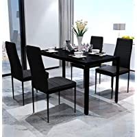 Festnight 5 Piece Dining Set Table and 4 Chair Sets Tempered Glass Artificial Leather Iron Legs Simple Style Black