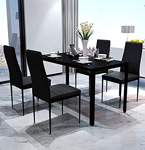 9d298f29b6bf6 Image Unavailable. Festnight 5 Piece Dining Set Table and 4 Chair Sets  Tempered Glass ...