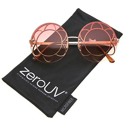 zeroUV - Women's Rimless Floral Frame Gradient Color Lens Oversize Round Sunglasses 59mm (Gold / Red-Orange - Flower Round Sunglasses