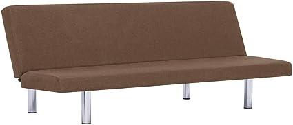 vidaXL Sofá Cama de Poliéster Sillones Salón Comedor Sala de Estar Muebles Mobiliario Decoración Colchón Somier Casa Hogar Diseño Interiores Marrón