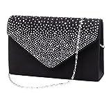 U-Story Women's Rhinestone Satin Frosted Evening Wedding Clutch Bag Handbag Purse