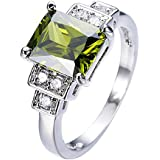 Women Fashion Jewelry Green Peridot Gemstone 925 Silver Bridal Wedding Ring New (8)