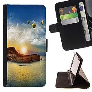 Devil Case- Estilo PU billetera de cuero del soporte del tir¨®n [solapa de cierre] Cubierta FOR Samsung Galaxy S6 G9200- Sunsine Fly Man sea