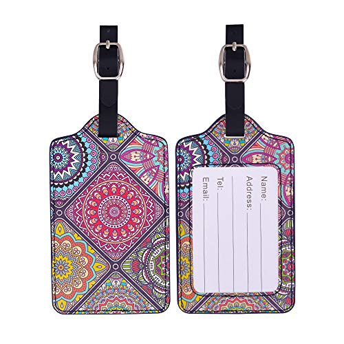 Luggage Tags, Tiessic Leather Name ID Labels for Travel Bag Suitcase - Pattern 15 [2 Pack] ()
