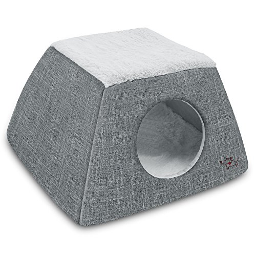 Gray Cat Dome Small Plush Tent Bed for Pets Cozy House for  Dogs & Cats