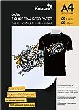 KOALA Inkjet Iron On T Shirt Transfer Paper for Dark Fabrics x 25 Sheets, A4