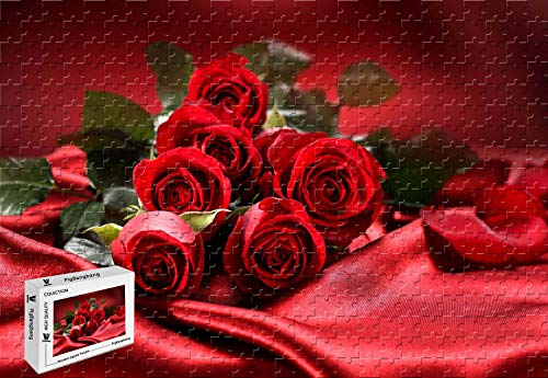 (PigBangbang,34.4 X 22.6 Inch,Difficult Puzzle with Jigsaw Glue Premium Wooden - Bouquet Flowers red Roses Love Valentines Day - 1500 Piece Jigsaw Puzzle)