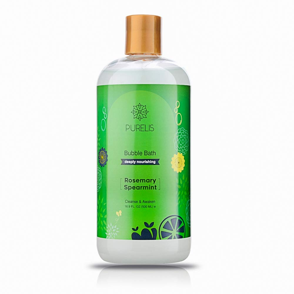 Purelis bubble bath Rosemary, Hypoallergenic Kids Calming Rosemary Bubble Bath to Soothe & Relax. Sulfate Free - 16.9 oz Bubble Bath for Sensitive Skin!
