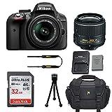Nikon D3300 DSLR Camera with Nikon AF-S DX NIKKOR 18-55mm f/3.5-5.6G VR II Lens + 32GB Memory Card + Camera Carrying Bag + Tripod (Certified Refurbished)
