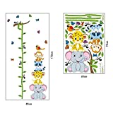 Bien-Zs Baby Height Growth Chart Tree Cute Monkey Ruler Measurement Wall Stickers Removable Wall Decor for Kids Bedroom Nursery, 70''x33''